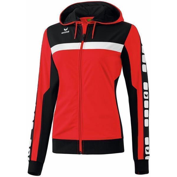 ERIMA 5 CUBES Trainingsjacke mit Kapuze rotschwarzweiß